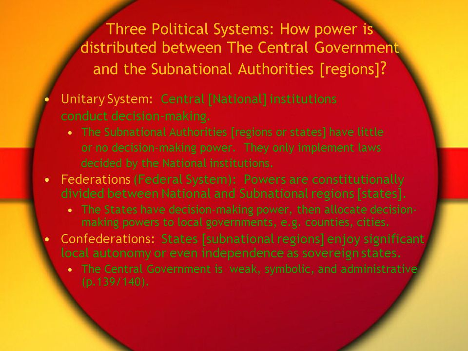 Three Political Systems: How power is distributed between The Central Government and the Subnational Authorities [regions]